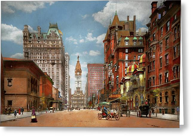 Greeting Card featuring the photograph City - Pa Philadelphia - Broad Street 1905 by Mike Savad