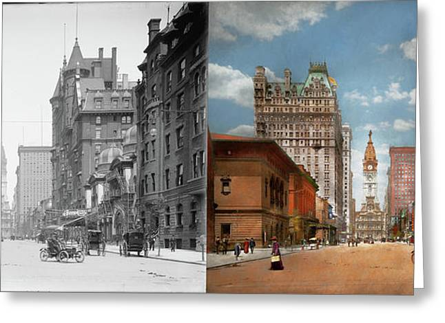 Greeting Card featuring the photograph City - Pa Philadelphia - Broad Street 1905 - Side By Side by Mike Savad