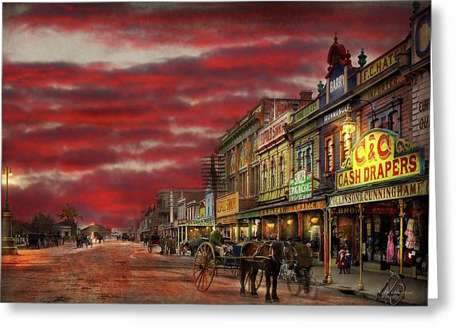 City - Palmerston North Nz - The Shopping District 1908 Greeting Card by Mike Savad