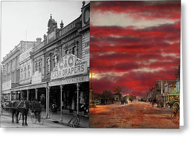 Greeting Card featuring the photograph City - Palmerston North Nz - The Shopping District 1908 - Side By Side by Mike Savad