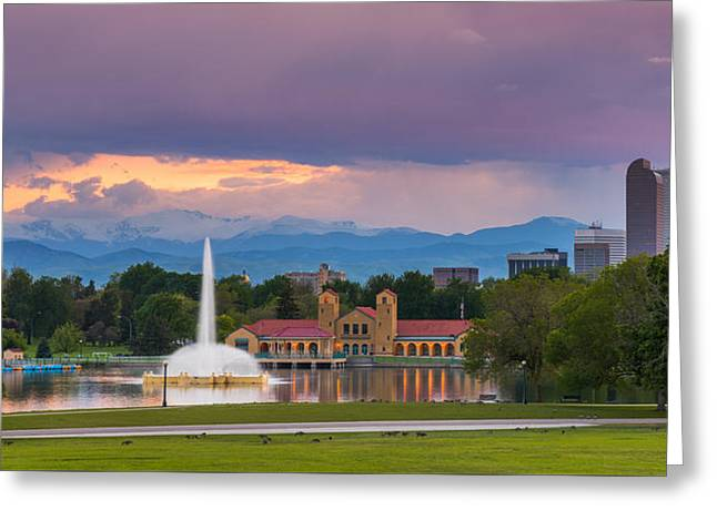 City Park Sunset Greeting Card by Darren  White