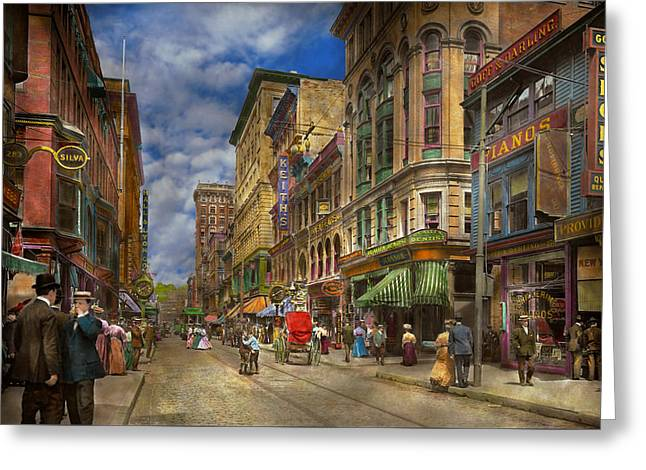 City - Providence Ri - Living In The City 1906 Greeting Card by Mike Savad
