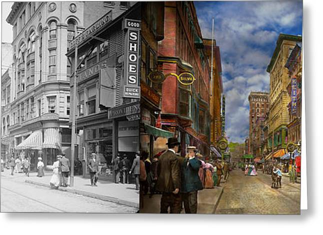 City - Providence Ri - Living In The City 1906 - Side By Side Greeting Card by Mike Savad