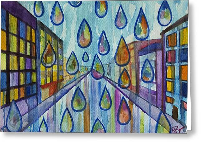 City Rain Greeting Card