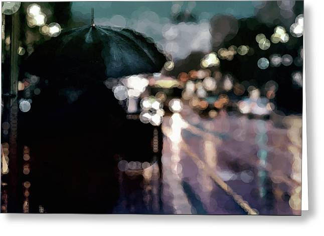 Greeting Card featuring the mixed media City Rain by Susan Maxwell Schmidt