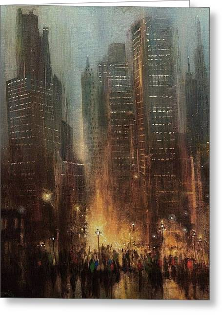 City Rain Greeting Card by Tom Shropshire