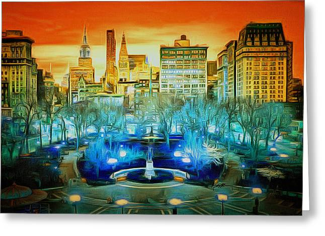 City Scene Greeting Card by Anthony Caruso