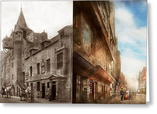 Greeting Card featuring the photograph City - Scotland - Tolbooth Operator 1865 - Side By Side by Mike Savad