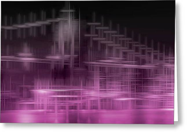 City Shapes Manhattan Skyline And Brooklyn Bridge - Pink Greeting Card