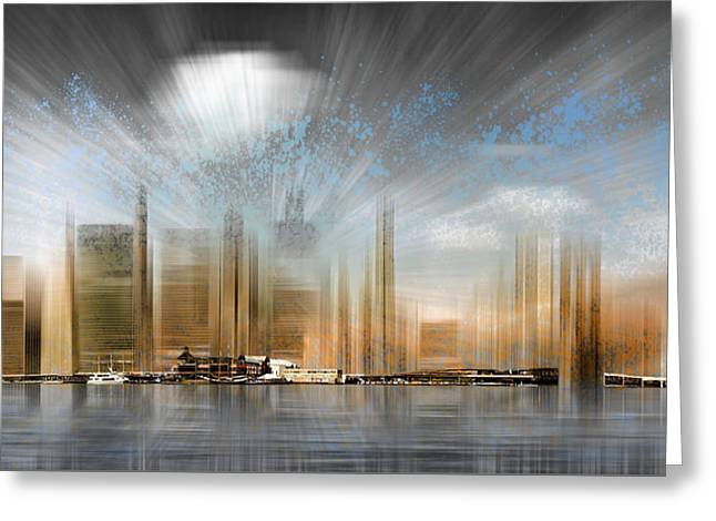 City Shapes Manhattan Skyline - Panoramic Greeting Card