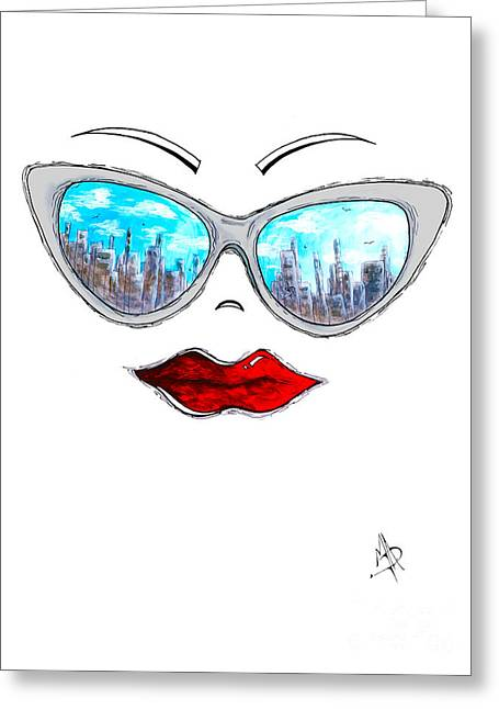 City Skyline Cat Eyes Reflection Sunglasses Aroon Melane 2015 Collection Collaboration With Madart Greeting Card by Megan Duncanson