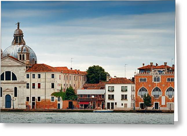 Greeting Card featuring the photograph City Skyline Of Venice Panorama by Songquan Deng