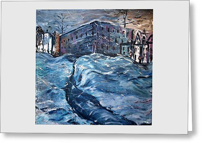 City Snow Storm Greeting Card