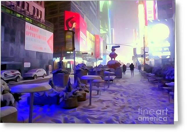 City Snowfall Greeting Card