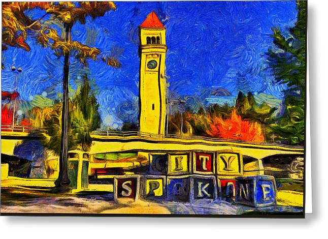 City Spokane - Riverfront Park Greeting Card by Mark Kiver