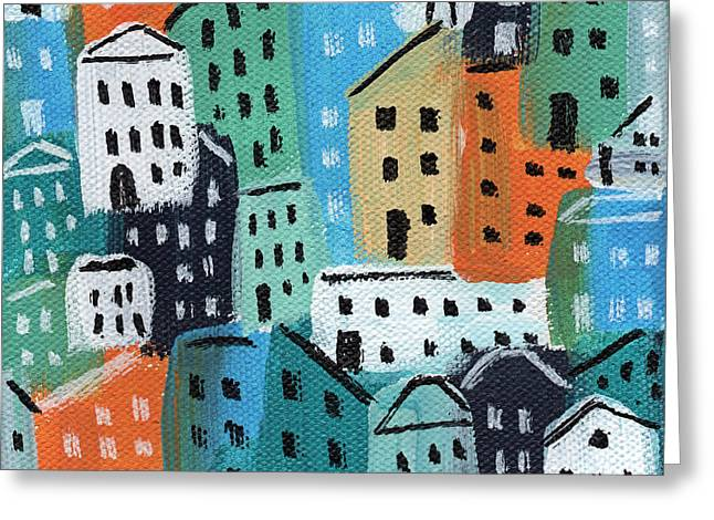 City Stories- Blue And Orange Greeting Card by Linda Woods