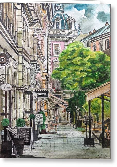 City Street In Prague Greeting Card by Lauren Ullrich