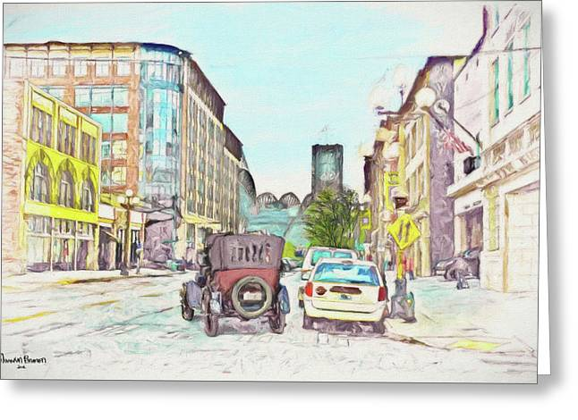 City Street Greeting Card by Marvin C Brown