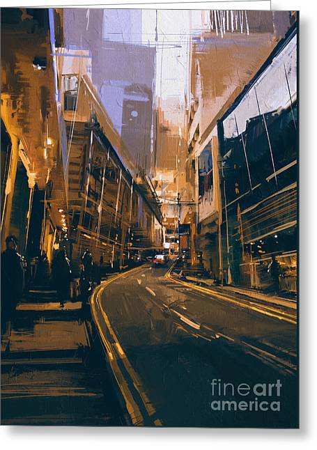 Greeting Card featuring the painting City Street by Tithi Luadthong