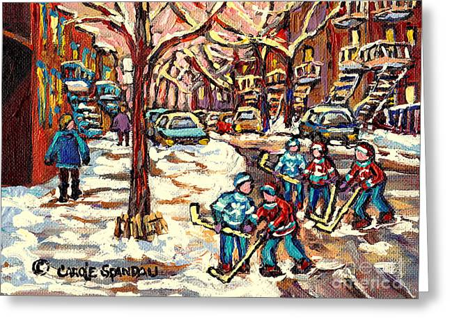 City Streets Of Montreal Winter Hockey Scene After The Snowfall Original Canadian Art Carole Spandau Greeting Card by Carole Spandau