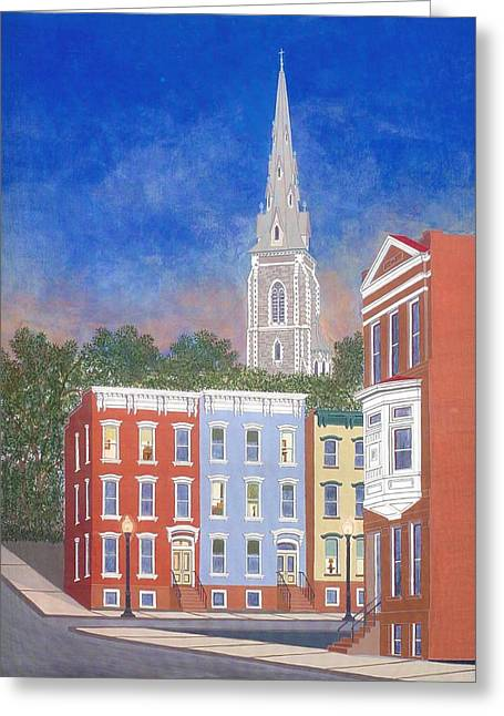 City Sunset Greeting Card by David Hinchen