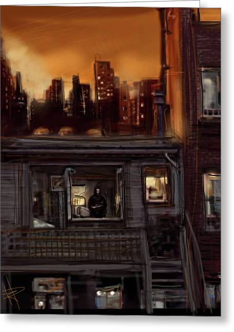 City Sunset Greeting Card by Russell Pierce