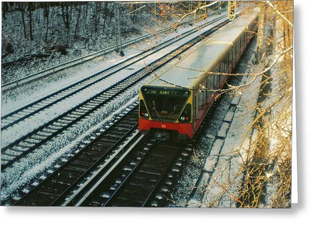 City Train In Berlin Under The Snow Greeting Card