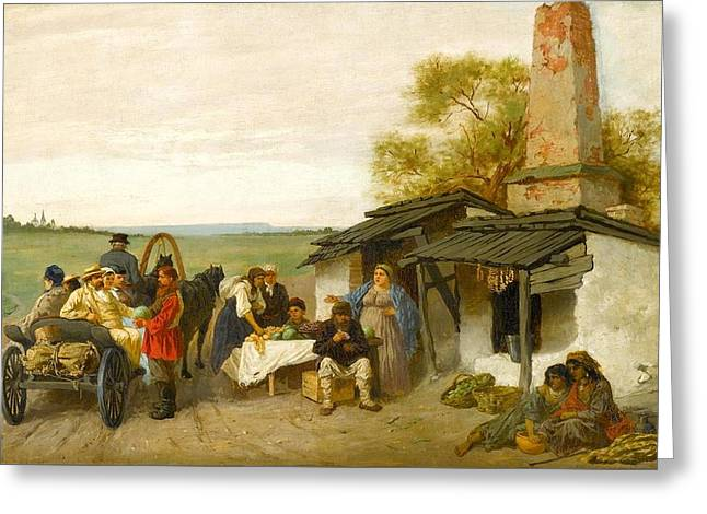 City Travellers Being Offered Fruit At A Ukrainian Roadside Dwelling Greeting Card