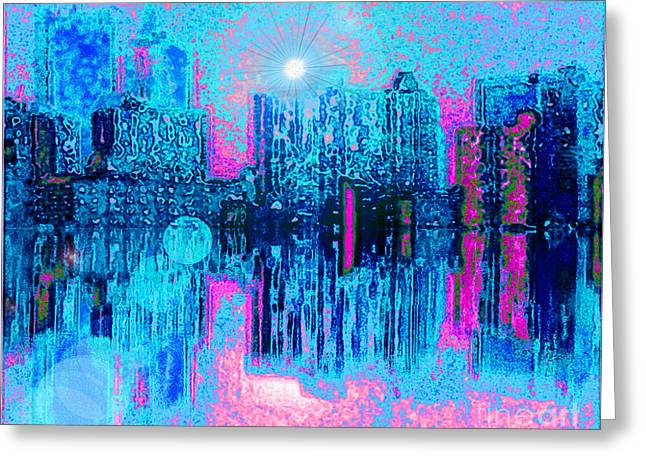 City Twilight Greeting Card by Holly Martinson