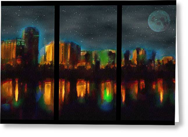 City Under A Blue Moon Greeting Card by Mario Carini