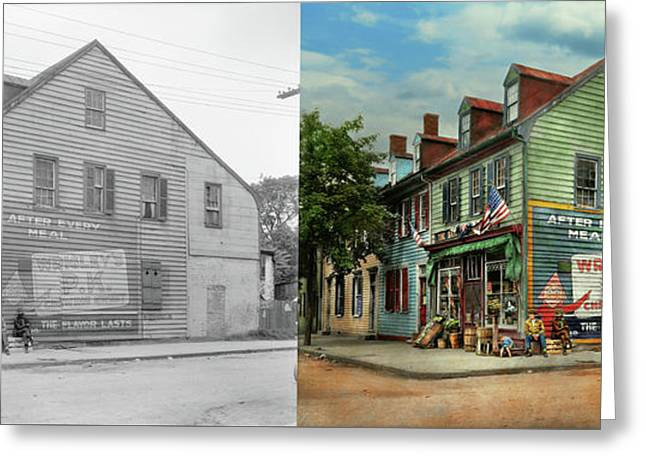City- Va - C And G Grocery Store 1927 - Side By Side Greeting Card by Mike Savad