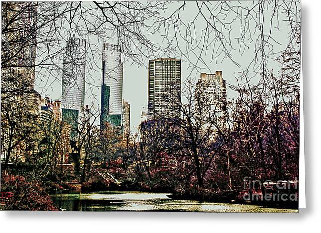 City View From Park Greeting Card by Sandy Moulder