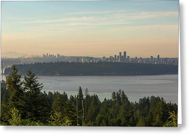 City View Of Vancouver And Burnaby Bc Greeting Card by David Gn