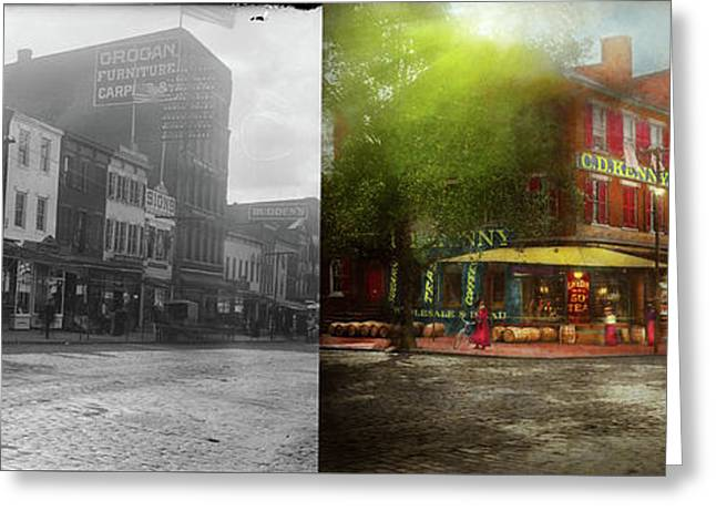 City - Washington Dc - Life On 7th St 1912 - Side By Side Greeting Card