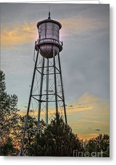 City Water Tower Greeting Card