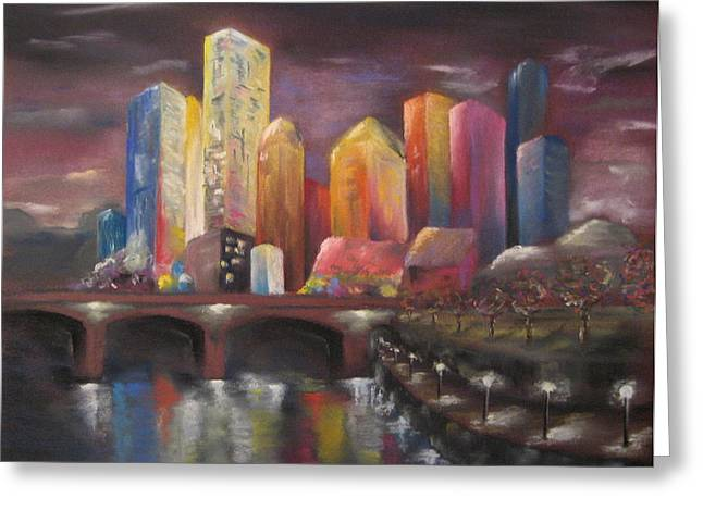 Town Pastels Greeting Cards - Citylights Greeting Card by Sabina Haas