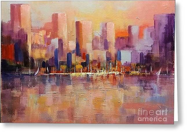 Greeting Card featuring the painting Cityscape 2 by Rosario Piazza