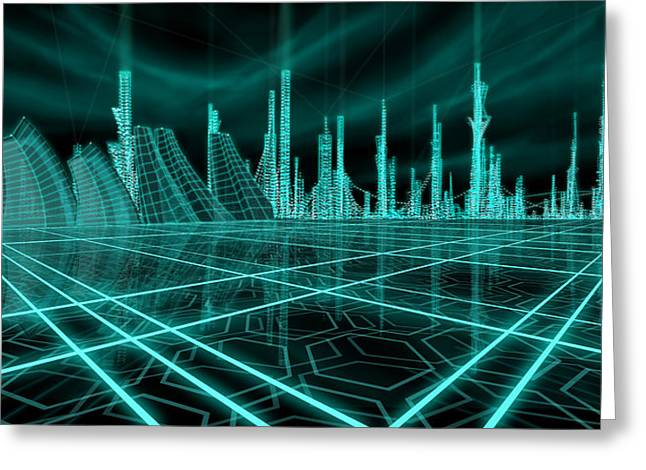 Best Sellers -  - Tron Greeting Cards - Cityscape 2010 Alpha Greeting Card by James Christopher Hill
