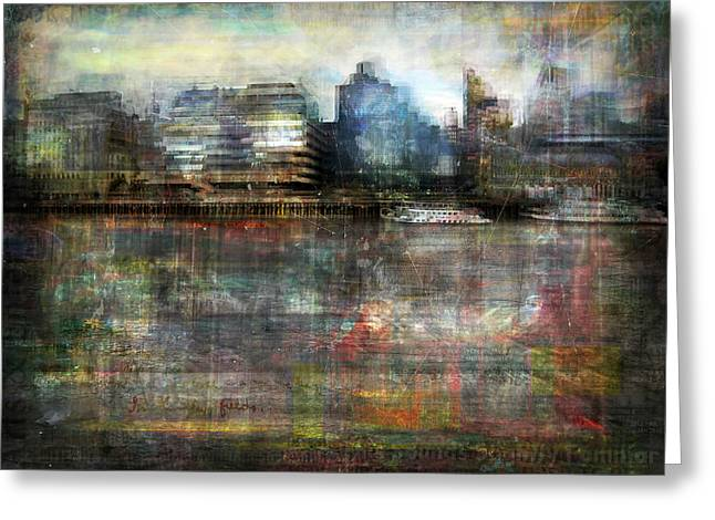 Greeting Card featuring the photograph Cityscape #33. Silent Windows by Alfredo Gonzalez