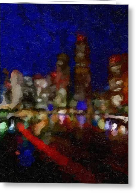 Cityscape Greeting Card by Kathie Miller