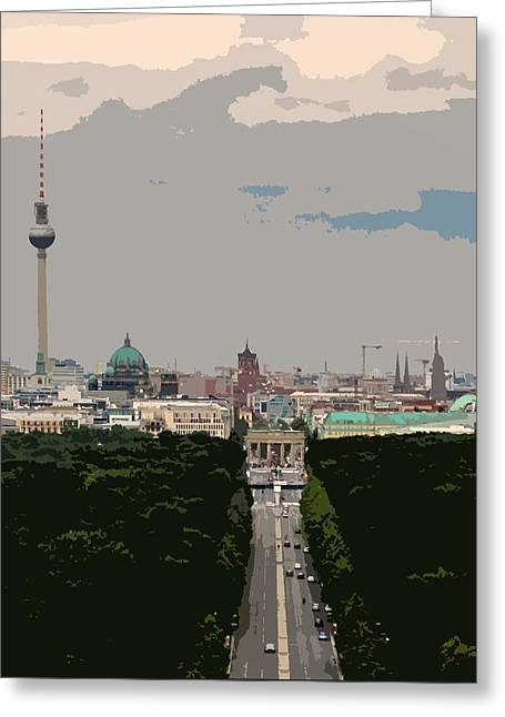 Cityscape Of Berlin - Painting Effect Greeting Card