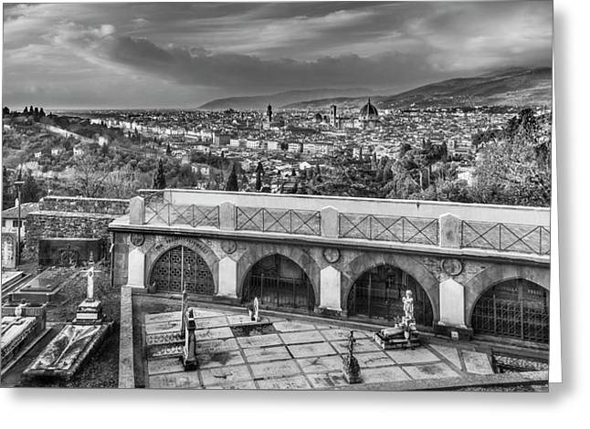 Cityscape Of Florence And Cemetery Greeting Card by Sonny Marcyan