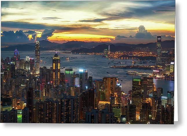 Cityscape Of Hong Kong And Kowloon  Greeting Card by Anek Suwannaphoom