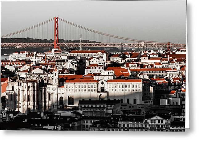 Lisbon In Black, White And Red Greeting Card