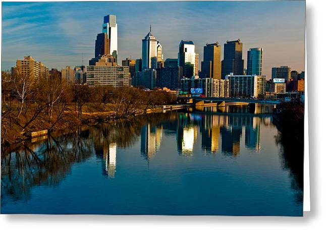 Cityscape Of Philadelphia Pa Greeting Card by Louis Dallara