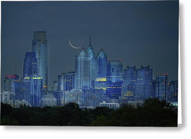 Cityscape - Philadelphia Pennsylvania- Cresent Moon Greeting Card