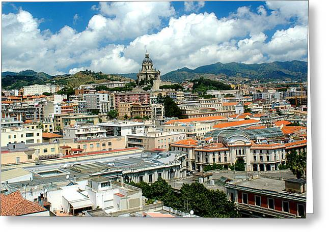 Cityscape Town Of Messina Sicily Italy Greeting Card by M Morina A Gurmankin