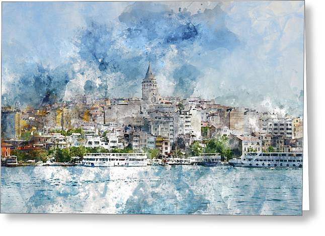 Cityscape With Galata Tower Over The Golden Horn In Istanbul, Turkey Greeting Card by Brandon Bourdages