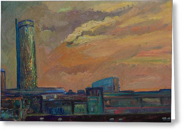 Cityscape With Tower Greeting Card by Maris Salmins