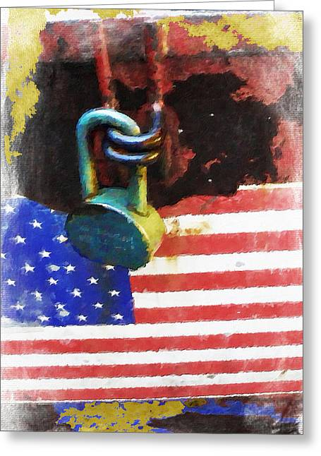Civil Rights And Wrongs Home Land Security Flag And Lock 1 Greeting Card by Tony Rubino